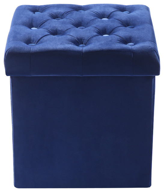 Admirable Poly And Bark Lauren Velvet Cube Storage Ottoman Blue Ncnpc Chair Design For Home Ncnpcorg