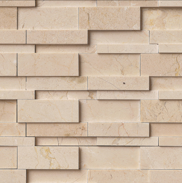 Contemporary Wall Tile earth yellow 3d interlocking marble mesh-mounted mosaic wall tile
