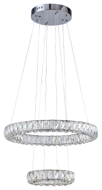 Clear Crystal Triple Sided Double Ring LED Light Fixture With Chrome Frame