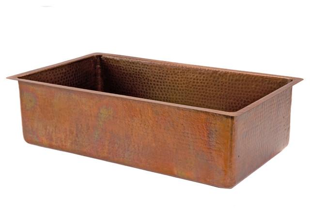 33 Antique Copper Kitchen Single Basin Sink Rustic Kitchen Sinks