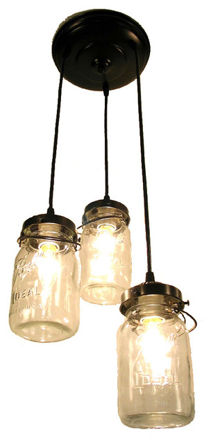 Mason Jar Chandelier Trio With Vintage Quart Jars