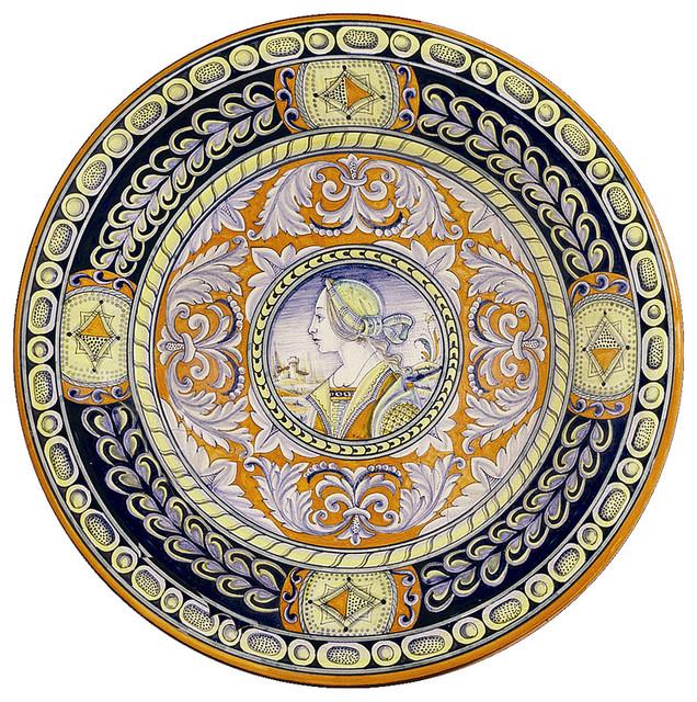 Deruta, Large Wall Plate Noblewoman, 20D. - Mediterranean - Home ...