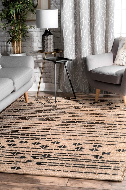 Transitional Hand-Tufted Tribal Abstract Area Rug, Natural, 5'x8'