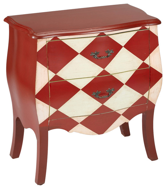 2drawer bombay chest with red and white diamond pattern design