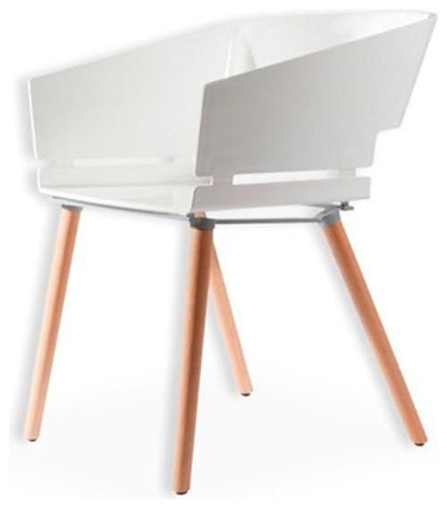 Kubix modern white plastic arm chair plastic seat beechwood legs midcentury dining chairs - Witte plastic stoel ...