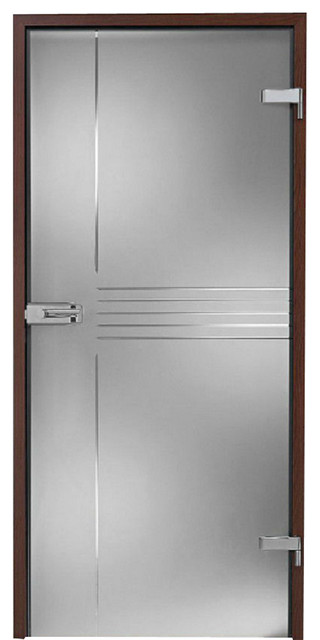 Interior Hinged Glass Door Transparent Lines Frosted Design