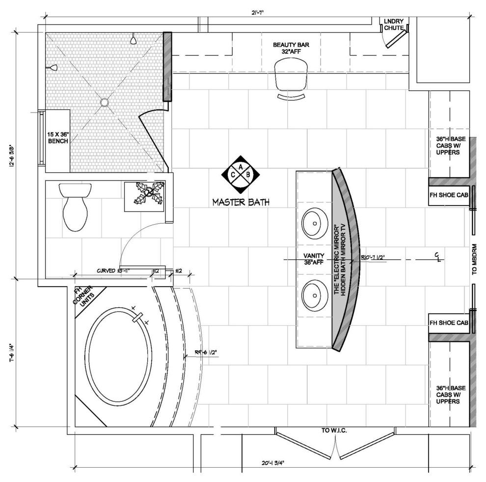 Contemporary Master bathroom: floor plan drawing