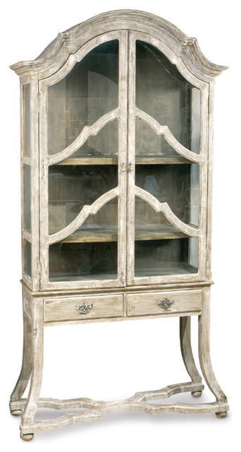 Dauphine French Country Antique Beige Display Case Cabinet.