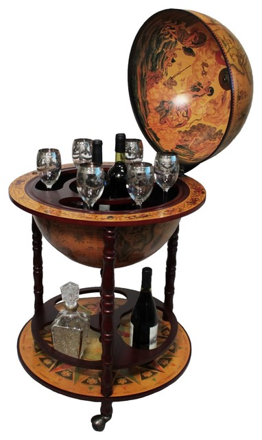 Urban Designs Antique Reproduction Sixth Century Italian Old World Globe Bar Rustic
