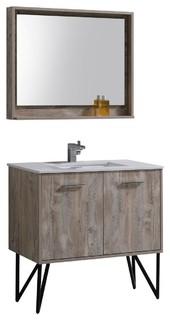 "Bosco 36"" Modern Bathroom Vanity With Quartz Countertop and Matching Mirror"