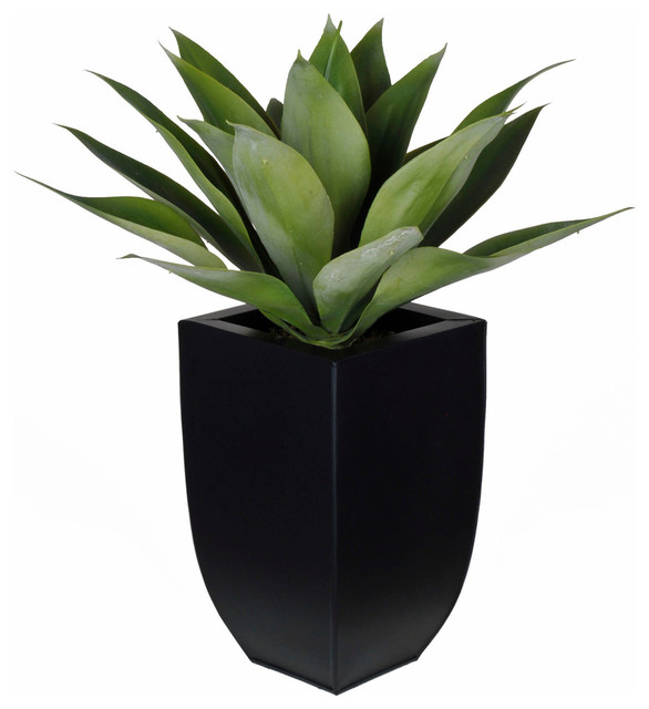 Artificial Tabletop Agave In Black Zinc Vase Contemporary Artificial Plants  And Trees