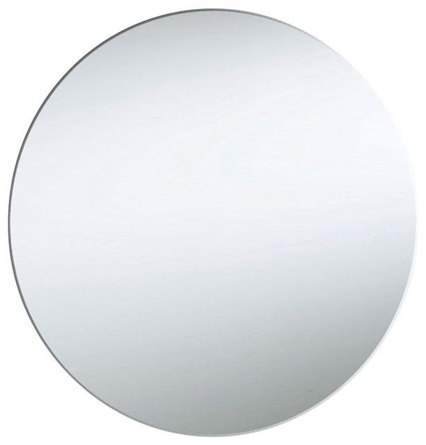 Lighted Round Backlit Mirror, Silver, White.