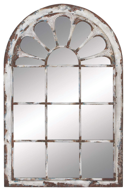 Multi Color Arched Window Framed Wall, Decorative Window Frame Mirrors