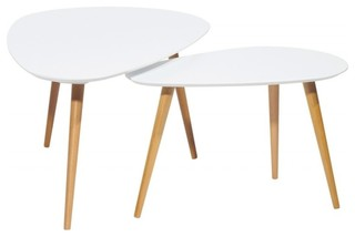 White And Oak Oval Nesting Coffee Tables Set Of 2