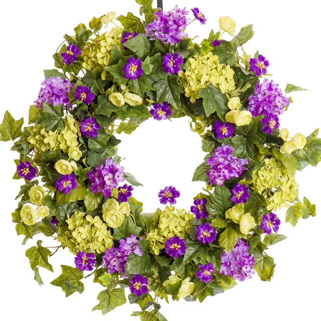 "Lavender And Green Hydrangea With Cornflowers, Spring Wreath, 26""."