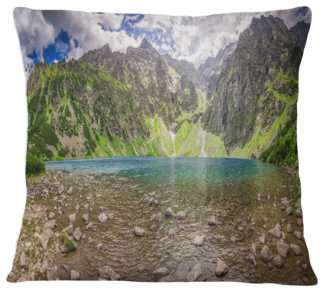 Designart Cu11259 16 16 Beautiful Alps Lake In Mountains Landscape Printed Cushion Cover For Living Room In Insert Side X 16 In Sofa Throw Pillow 16 In Throw Pillow Covers Home Kitchen