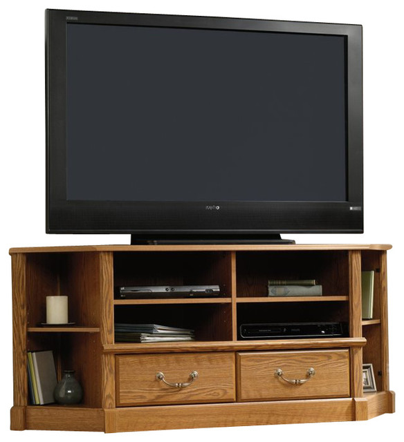 Sauder Orchard Hills Large Corner Tv Stand In Carolina Oak Finish