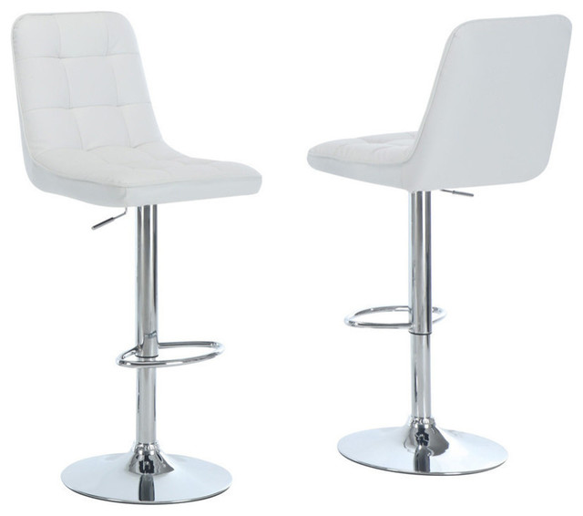 White and Chrome Metal Hydraulic Lift Bar Stools, Set of 2