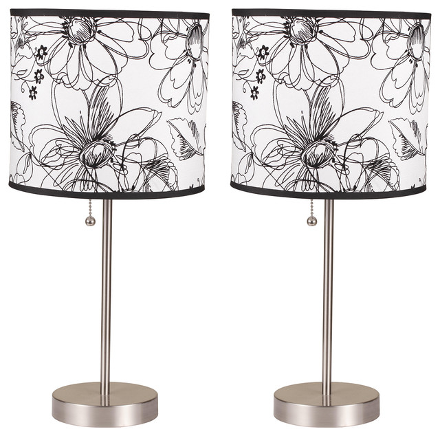 Ruslana Contemporary 18.5&x27;&x27; Table Lamps, Flower Print, Set Of 2.