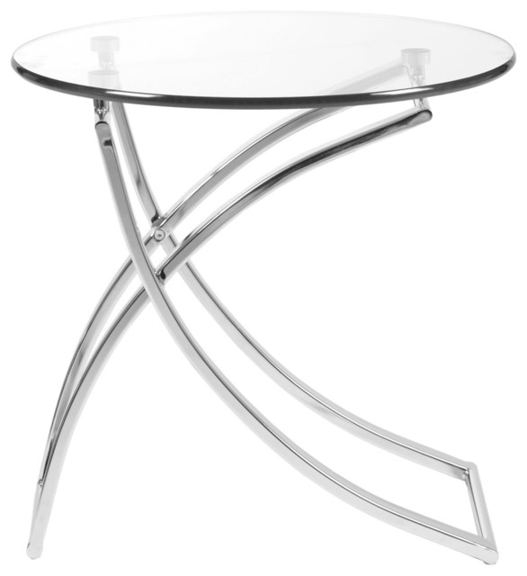 Delightful Talisa Side Table, Clear Glass And Chrome Contemporary Side Tables And