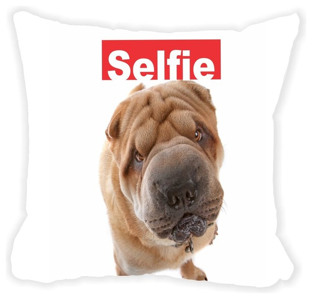 Brown Microfiber Throw Pillows : Rikki Knight LLC - Selfie Brown Sharpei Dog Microfiber Throw Pillow & Reviews Houzz