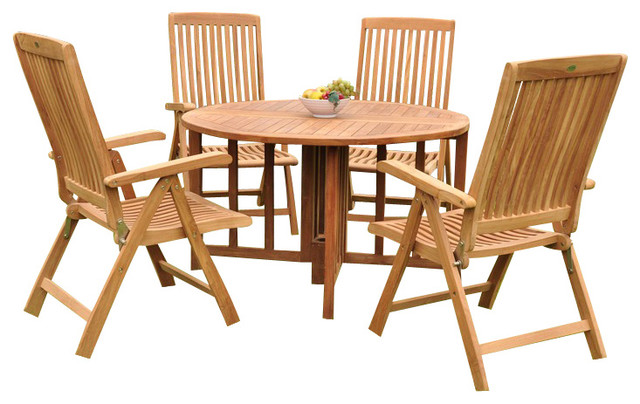 5-Piece Outdoor Teak Dining Set, 48 Round Butterfly Table, 4 Marley Arm Chairs.
