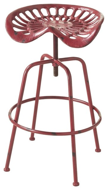 Brilliant Adjustable Tractor Stool Distressed Red Ncnpc Chair Design For Home Ncnpcorg