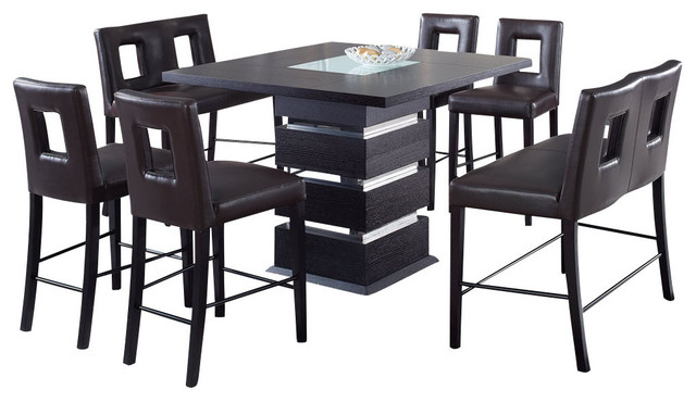 Global Furniture USA G072BT 7 Piece Square Bar Table Set With Brown Stools  Traditional