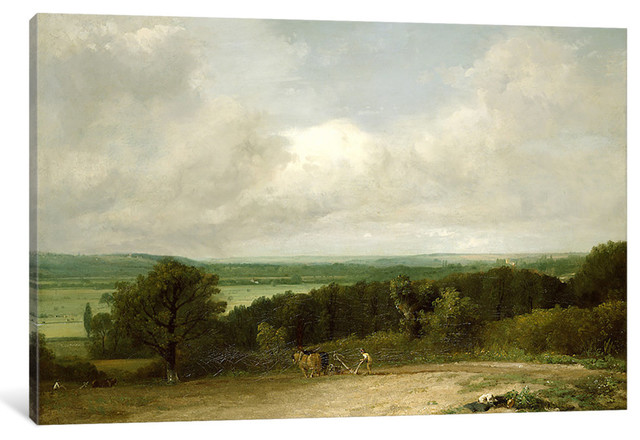 Wooded Landscape with a ploughman by John Constable, 60x40x1.5 by iCanvas