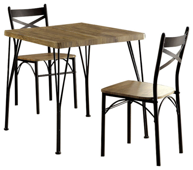 Industrial Style 3 Piece Dining Table Set, Brown And Black
