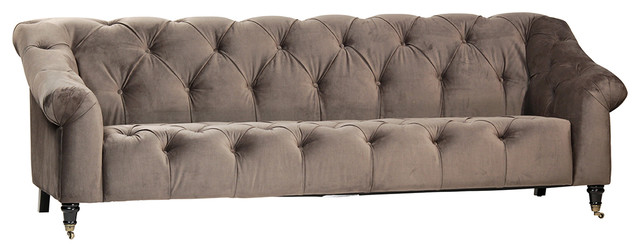 Gray Velvet Tufted Sofa