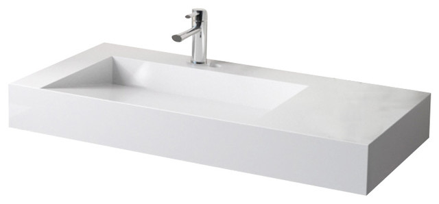 Badeloft Stone Resin Wall Mounted Sink Modern Bathroom Sinks