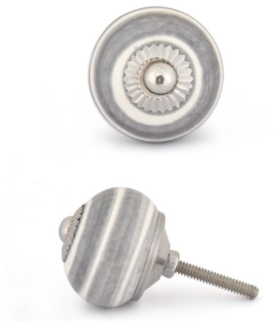 Ceramic Knobs, Gray And White, Set Of 2 Cabinet And Drawer