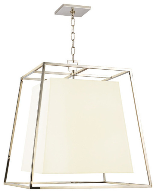 Kyle, Four Light Chandelier, Polished Nickel Finish, White Faux Silk Shade