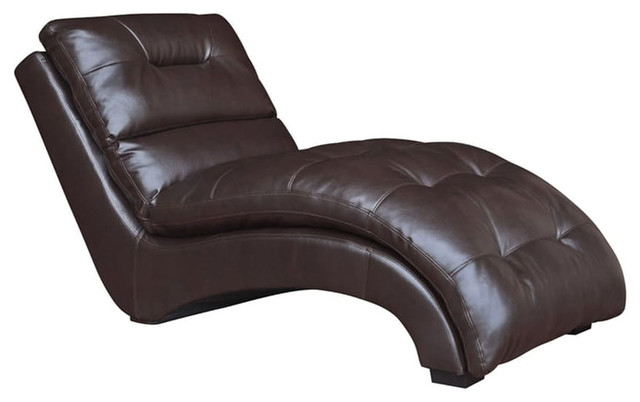 Savannah Faux Leather Chaise Lounge 66 x31 x33  Chocolate contemporary-  sc 1 st  Houzz : faux leather chaise lounge - Sectionals, Sofas & Couches