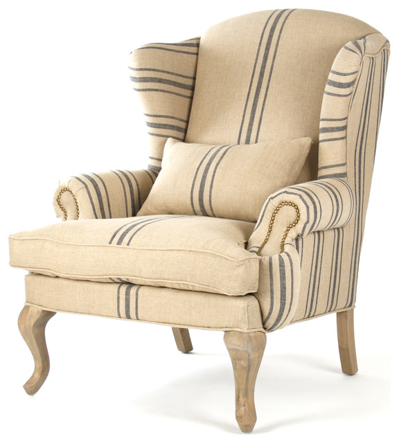 Zacharie Khaki Linen English Wing Chair With Blue Stripe  Traditional Armchairs And Accent