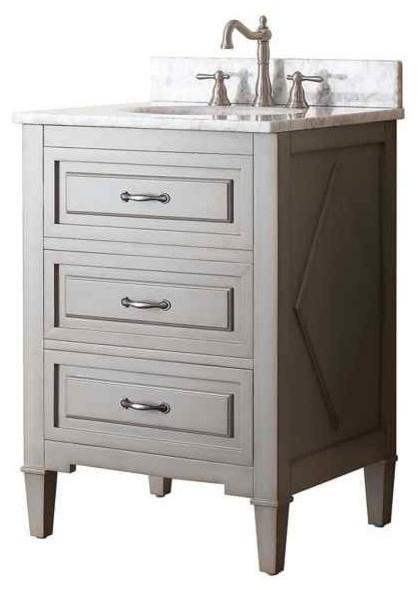 Gerrell 60 Single Bathroom Vanity Set Blue: 25 In. Single Sink Vanity In Grayish Blue Finish