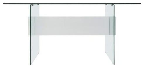 Casabianca Home Il Vetro High Gloss White Lacquer Tempered Glass Office Desk