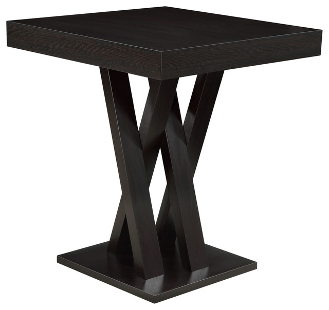 top wood dining table with crisscross supports black dining tables