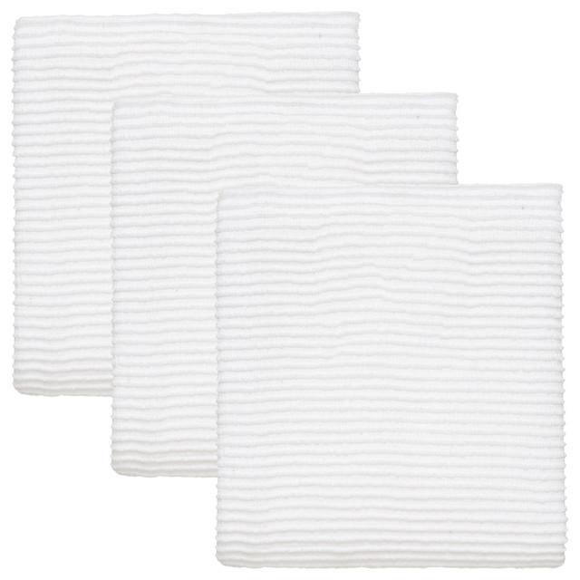 Turkish Cotton Ripple Kitchen Towels, Set Of 3, White