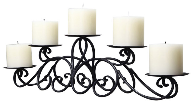 Good Adeco Iron Table Desk Top Candle Holder, Pyramid Layout Holds 5 Candles  Mediterranean Candleholders