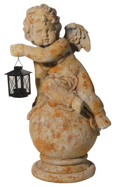 Angel Statue Cherub Figurine With Lantern Mediterranean