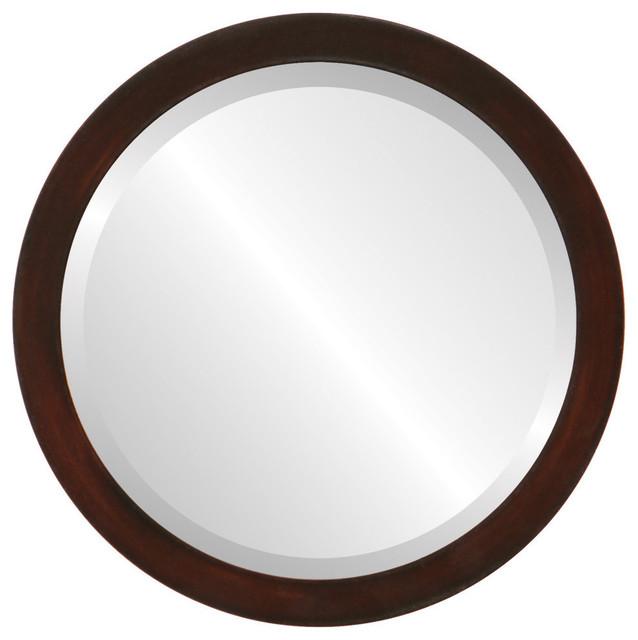 """Manhattan Framed Round Mirror In Mocha, 25""""x25""""."""
