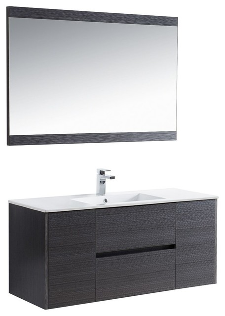 "Blossom Valencia 48"" Vanity Set, Silver Gray, Mirror, Single."