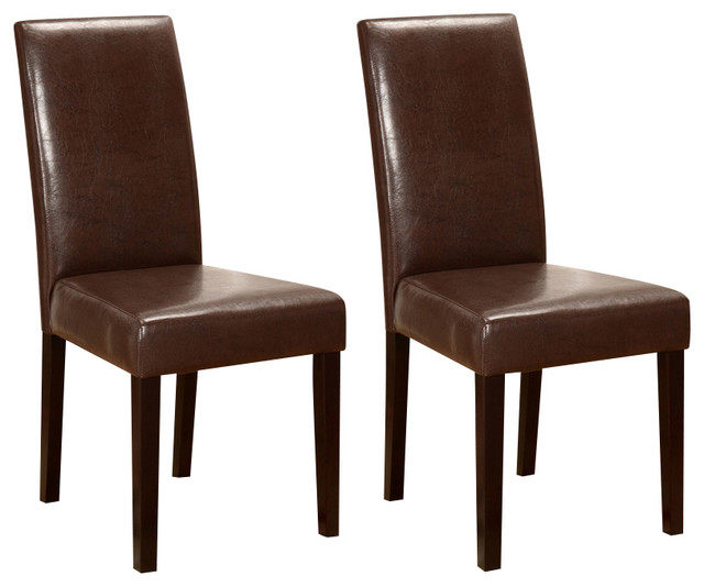 Faux Leather Parson Chairs, Espresso, Set Of 2   Transitional   Dining  Chairs   By 2K Furniture Designs
