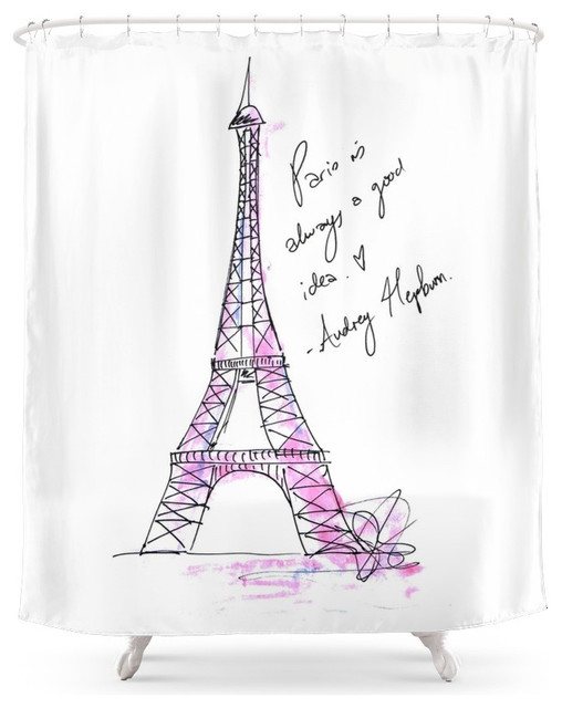 society6 eiffel tower audrey hepburn shower curtain. Black Bedroom Furniture Sets. Home Design Ideas
