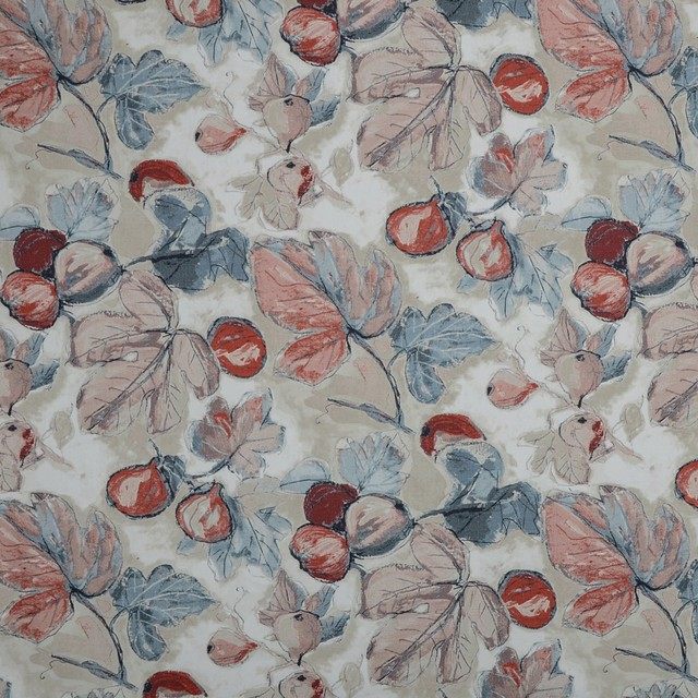Rouge Blue Red Contemporary Floral Print Upholstery Fabric