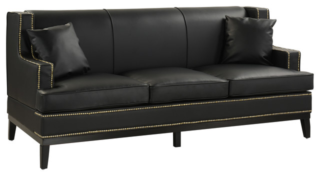 Modern Soft Bonded Leather with Nailhead Trim Details - Midcentury ...