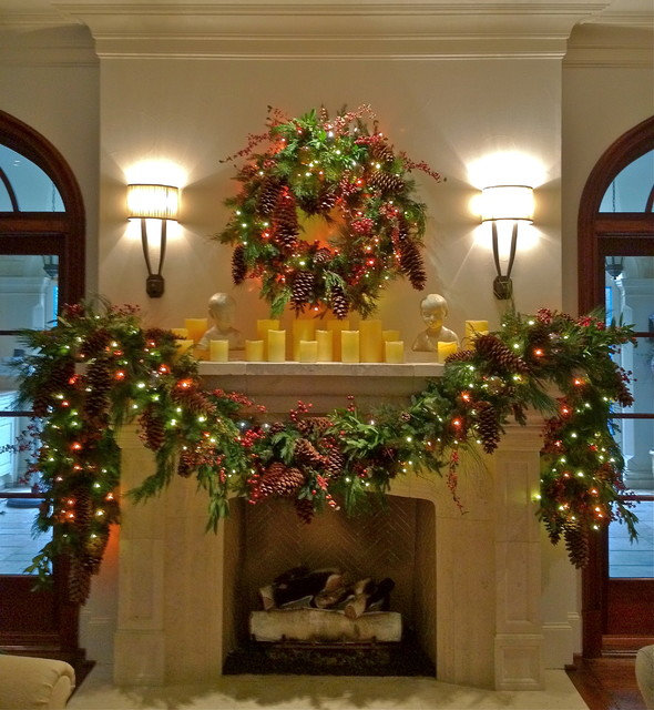 Holiday Decor Mantle Garland Traditional Dallas