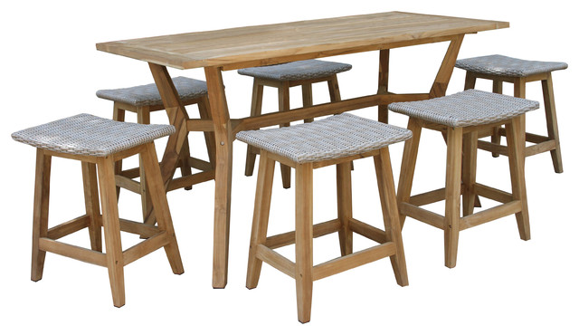Superieur 7 Piece Nautical Teak Counter Height Dining Set With Saddle Stools